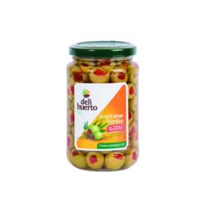 Aceituna verde rellena de pimiento en aceite de oliva